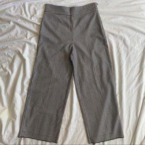 Zara Super High Waist Wide Leg Ankle Pants Gingham